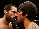CINCINNATI, OH - MAY 10:  (L-R) Opponents Matt Brown and Erick Silva face off before their welterweight fight during the UFC Fight Night event at the U.S. Bank Arena on May 10, 2014 in Cincinnati, Ohio. (Photo by Josh Hedges/Zuffa LLC/Zuffa LLC via Getty Images)