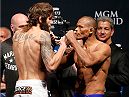 LAS VEGAS, NV - MAY 23:  (L-R) Opponents Michael Chiesa and Francisco Trinaldo face off during the UFC 173 weigh-in at the MGM Grand Garden Arenaon May 23, 2014 in Las Vegas, Nevada.  (Photo by Josh Hedges/Zuffa LLC/Zuffa LLC via Getty Images)
