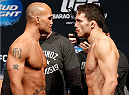 LAS VEGAS, NV - MAY 23:  (L-R) Opponents Robbie Lawler and Jake Ellenberger face off during the UFC 173 weigh-in at the MGM Grand Garden Arenaon May 23, 2014 in Las Vegas, Nevada.  (Photo by Josh Hedges/Zuffa LLC/Zuffa LLC via Getty Images)