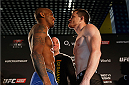 BERLIN, GERMANY - MAY 30:  Opponents Francis Carmont (L) and CB Dollaway (R) face off during the UFC weigh-in at O2 World on May 30, 2014 in Berlin, Germany.  (Photo by Boris Streubel/Zuffa LLC/Zuffa LLC via Getty Images)