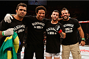 SAO PAULO, BRAZIL - MAY 31: Pedro Munhoz (2nd-R) reacts after his TKO victory over Matt Hobar in their bantamweight fight during the UFC Fight Night event at the Ginasio do Ibirapuera on May 31, 2014 in Sao Paulo, Brazil. (Photo by Josh Hedges/Zuffa LLC/Zuffa LLC via Getty Images)