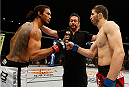 ALBUQUERQUE, NM - JUNE 07:  (L-R) Opponents Benson Henderson and Rustam Khabilov face off before their lightweight fight during the UFC Fight Night event at Tingley Coliseum on June 7, 2014 in Albuquerque, New Mexico.  (Photo by Josh Hedges/Zuffa LLC/Zuffa LLC via Getty Images)