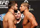 VANCOUVER, BC - JUNE 13:  (L-R) Opponents Andrei Arlovski and Brendan Schaub face off during the UFC 174 weigh-in at Rogers Arena on June 13, 2014 in Vancouver, Canada.  (Photo by Josh Hedges/Zuffa LLC/Zuffa LLC via Getty Images)