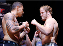 AUCKLAND, NEW ZEALAND - JUNE 27:  (L-R) Opponents Soa Palelei and Jared Rosholt face off during the UFC weigh-in at Vector Arena on June 27, 2014 in Auckland, New Zealand.  (Photo by Josh Hedges/Zuffa LLC/Zuffa LLC via Getty Images)