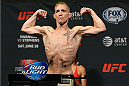 SAN ANTONIO, TX - JUNE 27:  Colton Smith steps on the scale during the UFC Fight Night weigh-in at the AT&T Center on June 27, 2014 in San Antonio, Texas. (Photo by Ed Mulholland/Zuffa LLC/Zuffa LLC via Getty Images)