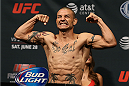 SAN ANTONIO, TX - JUNE 27:  Cub Swanson steps on the scale during the UFC Fight Night weigh-in at the AT&T Center on June 27, 2014 in San Antonio, Texas. (Photo by Ed Mulholland/Zuffa LLC/Zuffa LLC via Getty Images)