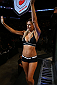 SAN ANTONIO, TX - JUNE 28:  UFC Octagon Girl Chrissy Blair introduces round three of Lamas vs Dias in their featherweight bout at the AT&T Center on June 28, 2014 in San Antonio, Texas. (Photo by Ed Mulholland/Zuffa LLC/Zuffa LLC via Getty Images)