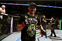 SAN ANTONIO, TX - JUNE 28:  Cub Swanson reacts after his featherweight bout at the AT&T Center on June 28, 2014 in San Antonio, Texas. (Photo by Ed Mulholland/Zuffa LLC/Zuffa LLC via Getty Images)