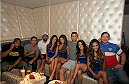 LAS VEGAS, NV - JULY 1:  (L-R) Daniel Cormier, Joseph Benavidez, UFC Welterweight Champ Johnny Hendricks, Luke Rockhold, and Forrest Griffin watch the 2014 FIFA World Cup Brazil Round of 16 match between USA and Belgium with the Bud Light Girls to kick off the UFC International Fight Week at Legasse's Stadium at The Palazzo Las Vegas on July 1, 2014 in Las Vegas, Nevada. (Photo by Brandon Magnus/Zuffa LLC/Zuffa LLC via Getty Images)