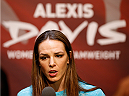 LAS VEGAS, NV - JULY 03:  UFC women's bantamweight title challenger Alexis Davis interacts with media during the UFC Ultimate Media Day at the Mandalay Bay Resort and Casino on July 3, 2014 in Las Vegas, Nevada.  (Photo by Josh Hedges/Zuffa LLC/Zuffa LLC via Getty Images)