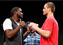 LAS VEGAS, NV - JULY 03:  (L-R) Opponents Corey Anderson and Matt Van Buren face off during the UFC Ultimate Media Day at the Mandalay Bay Resort and Casino on July 3, 2014 in Las Vegas, Nevada.  (Photo by Josh Hedges/Zuffa LLC/Zuffa LLC via Getty Images)
