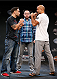 LAS VEGAS, NV - JULY 03:  (L-R) Opponents Frankie Edgar and BJ Penn face off during the UFC Ultimate Media Day at the Mandalay Bay Resort and Casino on July 3, 2014 in Las Vegas, Nevada.  (Photo by Josh Hedges/Zuffa LLC/Zuffa LLC via Getty Images)