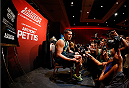 LAS VEGAS, NV - JULY 03:  UFC lightweight champion Anthony Pettis interacts with media during the UFC Ultimate Media Day at the Mandalay Bay Resort and Casino on July 3, 2014 in Las Vegas, Nevada.  (Photo by Josh Hedges/Zuffa LLC/Zuffa LLC via Getty Images)