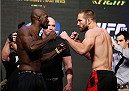 LAS VEGAS, NV - JULY 04:  (L-R) Kevin Casey squares off with Bubba Bush during the UFC 175 weigh-in inside the Mandalay Bay Events Center on July 4, 2014 in Las Vegas, Nevada.  (Photo by Josh Hedges/Zuffa LLC/Zuffa LLC via Getty Images)