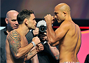 LAS VEGAS, NV - JULY 05:  Mixed martial artists Frankie Edgar (L) and BJ Penn face off during the TUF 19 Finale weigh-in at the Mandalay Bay Convention Center on July 5, 2014 in Las Vegas, Nevada.  (Photo by David Becker/Zuffa LLC/Zuffa LLC via Getty Images)