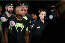LAS VEGAS, NV - JULY 05:  Marcus Brimage enters the arena before his fight with Russell Doane in their bantamweight fight at UFC 175 inside the Mandalay Bay Events Center on July 5, 2014 in Las Vegas, Nevada.  (Photo by Josh Hedges/Zuffa LLC/Zuffa LLC via Getty Images)