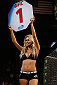LAS VEGAS, NV - JULY 05:  UFC Octagon Girl Chrissy Blair announces round one at UFC 175 inside the Mandalay Bay Events Center on July 5, 2014 in Las Vegas, Nevada.  (Photo by Josh Hedges/Zuffa LLC/Zuffa LLC via Getty Images)