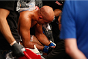 LAS VEGAS, NV - JULY 06:  BJ Penn recovers after his loss to Frankie Edgar in their featherweight fight during the Ultimate Fighter Finale inside the Mandalay Bay Events Center on July 6, 2014 in Las Vegas, Nevada.  (Photo by Josh Hedges/Zuffa LLC/Zuffa LLC via Getty Images)