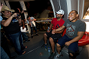 LAS VEGAS, NV - JULY 2:  Mixed martial artist John Dodson (R) and UFC welterweight champion Johny Hendricks pose at the UFC LINQ High Roller charity auction takeover during UFC International Fight Week at The Las Vegas High Roller at The LINQ on July 2, 2014 in Las Vegas, Nevada. (Photo by Al Powers/Zuffa LLC/Zuffa LLC via Getty Images)