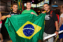 LAS VEGAS, NV - JULY 3:  Fans pose at the UFC Brazilian party during UFC International Fight Week inside the Rockhouse at The Venetian Las Vegas on July 3, 2014 in Las Vegas, Nevada. (Photo by Al Powers/Zuffa LLC/Zuffa LLC via Getty Images) *** Local Caption ***