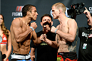 ATLANTIC CITY, NJ - JULY 15:  Edson Barboza (L) and Evan Dunham face off during the UFC Fight Night weigh-in at Revel Casino on July 15, 2014 in Atlantic City, New Jersey.  (Photo by Jeff Bottari/Zuffa LLC/Zuffa LLC via Getty Images)