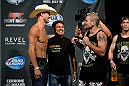 "ATLANTIC CITY, NJ - JULY 15:  Donald ""Cowboy"" Cerrone (L) and Jim Miller face off during the UFC Fight Night weigh-in at Revel Casino on July 15, 2014 in Atlantic City, New Jersey.  (Photo by Jeff Bottari/Zuffa LLC/Zuffa LLC via Getty Images)"