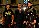 DUBLIN, IRELAND - JULY 16:  (L-R) Opponents Ian McCall and Brad Pickett pose for photos during the UFC media day at Royal Hospital Kilmainham on July 16, 2014 in Dublin, Ireland. (Photo by Josh Hedges/Zuffa LLC/Zuffa LLC via Getty Images)