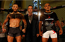 DUBLIN, IRELAND - JULY 16:  (L-R) Opponents Conor McGregor and Diego Brandao pose for photos during the UFC media day at Royal Hospital Kilmainham on July 16, 2014 in Dublin, Ireland. (Photo by Josh Hedges/Zuffa LLC/Zuffa LLC via Getty Images)