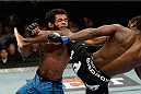 ATLANTIC CITY, NJ - JULY 16: (R-L) Aljamain Sterling lands a knee to the chin of Hugo Viana in their bantamweight bout during the UFC Fight Night event at Revel Casino on July 16, 2014 in Atlantic City, New Jersey. (Photo by Jeff Bottari/Zuffa LLC/Zuffa LLC via Getty Images)