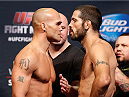 SAN JOSE, CA - JULY 25:  (L-R) Opponents Robbie Lawler and Matt Brown face off during the UFC fight night weigh-in at the SAP Center on July 25, 2014 in San Jose, California.  (Photo by Josh Hedges/Zuffa LLC/Zuffa LLC via Getty Images)