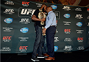 LAS VEGAS, NV - AUG 4:  (L-R) UFC light heavyweight champion Jon Jones and challenger Daniel Cormier face off during the UFC 178 Ultimate Media Day at the MGM Grand Hotel/Casino on August 4, 2014 in Las Vegas, Nevada. (Photo by Jeff Bottari/Zuffa LLC/Zuffa LLC via Getty Images)