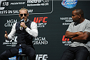 LOS ANGELES, CA - AUGUST 05: (L-R)  Mixed martial artist Conor McGregor of Ireland and Daniel Cormier talk during a UFC Q&A at LA Live on August 5, 2014 in Los Angeles, California.  (Photo by Jonathan Moore/Zuffa LLC/Zuffa LLC via Getty Images)