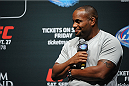 LOS ANGELES, CA - AUGUST 05:  Mixed martial artist Daniel Cormier talks during a UFC Q&A at LA Live on August 5, 2014 in Los Angeles, California.  (Photo by Jonathan Moore/Zuffa LLC/Zuffa LLC via Getty Images)