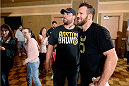 BANGOR, ME - AUG 14:   Ryan Bader (R) holds an open training session for the media and fans at the Cross Insurance Center on August 14, 2014 in Bangor, Maine. (Photo by Jeff Bottari/Zuffa LLC/Zuffa LLC via Getty Images) *** Local Caption ***Ryan Bader