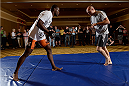 BANGOR, ME - AUG 14:   Ovince Saint Preux (L) holds an open training session for the media and fans at the Cross Insurance Center on August 14, 2014 in Bangor, Maine. (Photo by Jeff Bottari/Zuffa LLC/Zuffa LLC via Getty Images) *** Local Caption ***Ovince Saint Preux
