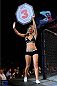 BANGOR, ME - AUGUST 16:  UFC Octagon Girl Chrissy Blair signals the start of round three between Shawn Jordan and Jack May in their heavyweight bout during the UFC fight night event at the Cross Insurance Center on August 16, 2014 in Bangor, Maine. (Photo by Jeff Bottari/Zuffa LLC/Zuffa LLC via Getty Images)