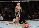 BANGOR, ME - AUGUST 16:  Ross Pearson celebrates after knocking out Gray Maynard in their lightweight bout during the UFC fight night event at the Cross Insurance Center on August 16, 2014 in Bangor, Maine. (Photo by Jeff Bottari/Zuffa LLC/Zuffa LLC via Getty Images)