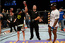 BANGOR, ME - AUGUST 16:  (L-R) Ryan Bader celebrates after defeating Ovince Saint Preux by majority decision in their light heavyweight bout during the UFC fight night event at the Cross Insurance Center on August 16, 2014 in Bangor, Maine. (Photo by Jeff Bottari/Zuffa LLC/Zuffa LLC via Getty Images)
