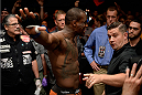 BANGOR, ME - AUGUST 16:  Ovince Saint Preux prepares to enter the Octagon before facing Ryan Bader in their light heavyweight bout during the UFC fight night event at the Cross Insurance Center on August 16, 2014 in Bangor, Maine. (Photo by Jeff Bottari/Zuffa LLC/Zuffa LLC via Getty Images)