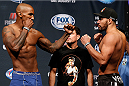 TULSA, OK - AUGUST 22: (L-R) Opponents Francis Carmont of France and Thales Leites of Brazil face off during the UFC Fight Night weigh-in at the BOK Center on August 22, 2014 in Tulsa, Oklahoma. (Photo by Josh Hedges/Zuffa LLC/Zuffa LLC via Getty Images)