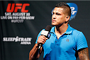 SACRAMENTO, CA - AUGUST 29:  UFC lightweight champion Anthony Pettis interacts with fans during a Q&A session before the UFC 177 weigh-in at Sleep Train Arena on August 29, 2014 in Sacramento, California.  (Photo by Josh Hedges/Zuffa LLC/Zuffa LLC via Getty Images)