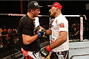 MASHANTUCKET, CT - SEPTEMBER 05:  (R-L) Ronaldo 'Jacare' Souza talks with Gegard Mousasi after defeating Mousasi in their middleweight bout during the UFC Fight Night event at Foxwoods Resort Casino on September 5, 2014 in Mashantucket, Connecticut.  (Photo by Josh Hedges/Zuffa LLC/Zuffa LLC via Getty Images)
