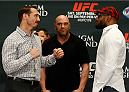 LAS VEGAS, NV - SEPTEMBER 25:  (L-R) Opponents Tim Kennedy and Yoel Romero of Cuba face off during the UFC 178 Ultimate Media Day at the MGM Grand Hotel/Casino on September 25, 2014 in Las Vegas, Nevada. (Photo by Josh Hedges/Zuffa LLC/Zuffa LLC via Getty Images)