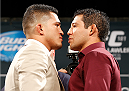 LAS VEGAS, NV - SEPTEMBER 26: (L-R) Opponents Anthony Pettis and Gilbert Melendez face off during the UFC 181 press conference at the MGM Grand Conference Center on September 26, 2014 in Las Vegas, Nevada. (Photo by Josh Hedges/Zuffa LLC/Zuffa LLC via Getty Images)