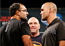 LAS VEGAS, NV - SEPTEMBER 26: (L-R) Opponents Johny Hendricks and Robbie Lawler face off during the UFC 181 press conference at the MGM Grand Conference Center on September 26, 2014 in Las Vegas, Nevada. (Photo by Josh Hedges/Zuffa LLC/Zuffa LLC via Getty Images)