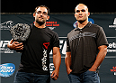 LAS VEGAS, NV - SEPTEMBER 26: (L-R) Opponents Johny Hendricks and Robbie Lawler pose for photos during the UFC 181 press conference at the MGM Grand Conference Center on September 26, 2014 in Las Vegas, Nevada. (Photo by Josh Hedges/Zuffa LLC/Zuffa LLC via Getty Images)
