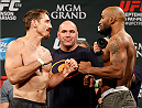LAS VEGAS, NV - SEPTEMBER 26:  (L-R) Opponents Tim Kennedy and Yoel Romero of Cuba face off during the UFC 178 weigh-in at the MGM Grand Conference Center on September 26, 2014 in Las Vegas, Nevada. (Photo by Josh Hedges/Zuffa LLC/Zuffa LLC via Getty Images)