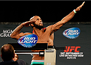 LAS VEGAS, NV - SEPTEMBER 26:  Demetrious Johnson poses on the scale after weighing in during the UFC 178 weigh-in at the MGM Grand Conference Center on September 26, 2014 in Las Vegas, Nevada. (Photo by Josh Hedges/Zuffa LLC/Zuffa LLC via Getty Images)