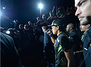 LAS VEGAS, NV - SEPTEMBER 27:  Amanda Nunes prepares to enter the Octagon before facing Cat Zingano in their women's bantamweight fight during the UFC 178 event inside the MGM Grand Garden Arena on September 27, 2014 in Las Vegas, Nevada.  (Photo by Jeff Bottari/Zuffa LLC/Zuffa LLC via Getty Images)