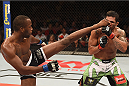 UBERLANDIA, BRAZIL - NOVEMBER 08:  Leon Edwards of England kicks Claudio Silva of Brazil in their welterweight bout during the UFC Fight Night at Sabiazinho Gymnasium on November 8, 2014 in Uberlandia, Brazil.  (Photo by Buda Mendes/Zuffa LLC/Zuffa LLC via Getty Images)